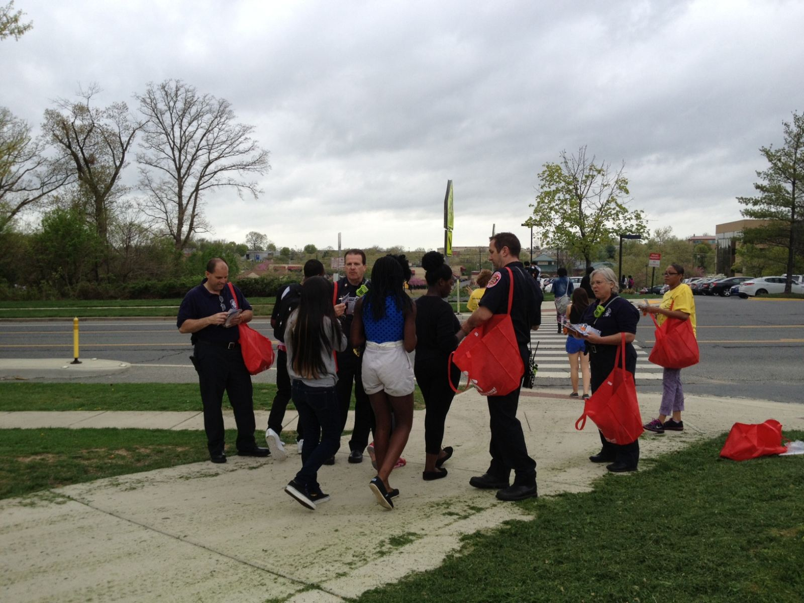Montgomery County Fire and Rescue Station 22 Distributing Reflective Materials to Students at Seneca Valley High School