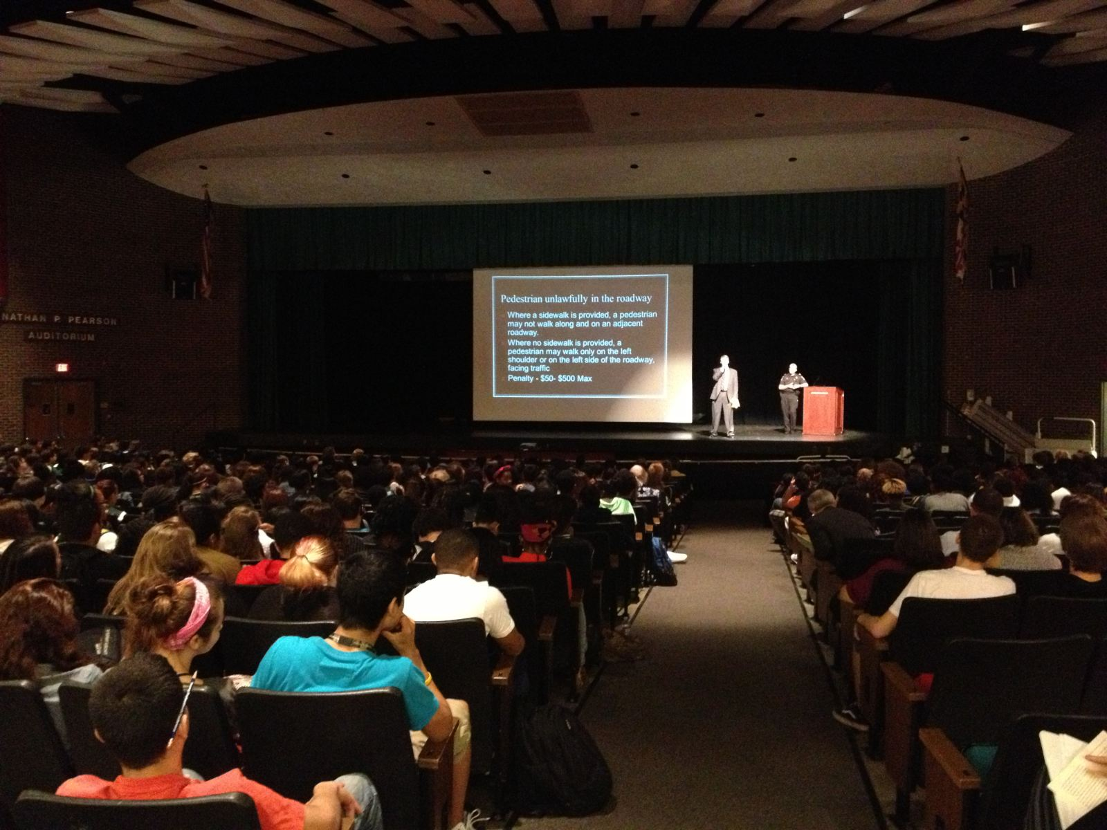 Pedestrian Safety assembly at Seneca Valley High School