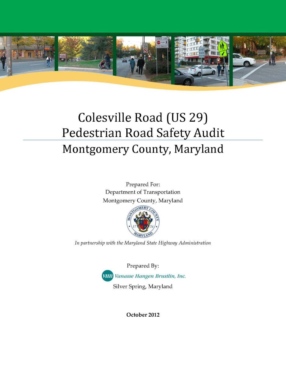 Colesville Road PRSA Report Cover - click here to view report