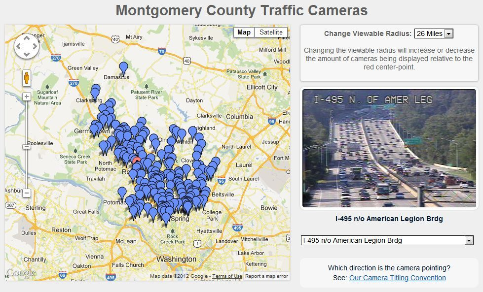 MCDOT Transportation Management Center Cameras - Us speed camera map