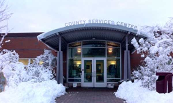 Entrance to Eastcounty Service Center in all its winter glory