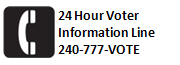 Montgomery County 24 Hour Voter Information Line US +1 240-777-VOTE.