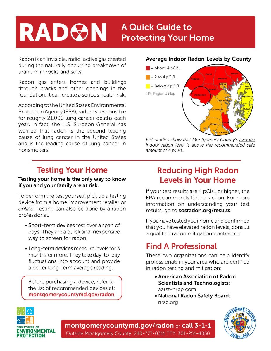 Ponds department of environmental protection montgomery county md - January Is National Radon Action Month