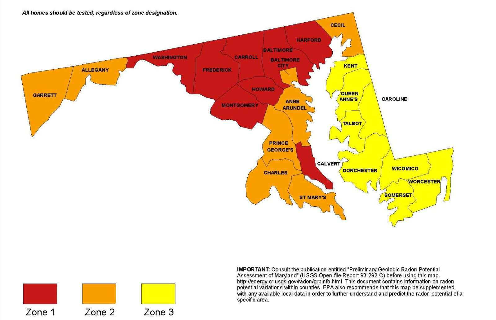 Map of the Maryland Counties' radon zones. Montgomery County is in Zone 1 with the highest risk.