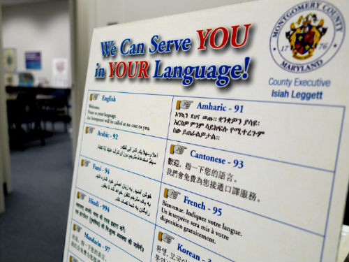 Language board on a department's front desk - a useful tool to help visitors identify their native language to staff