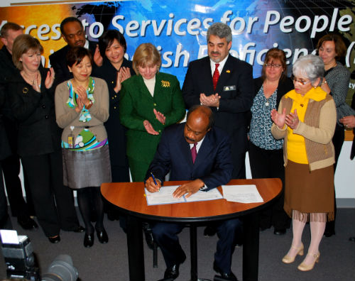 County Executive, Isiah Leggett, signed Executive Order 046-10 to mandate language access policies in the County on March 4, 2010 .
