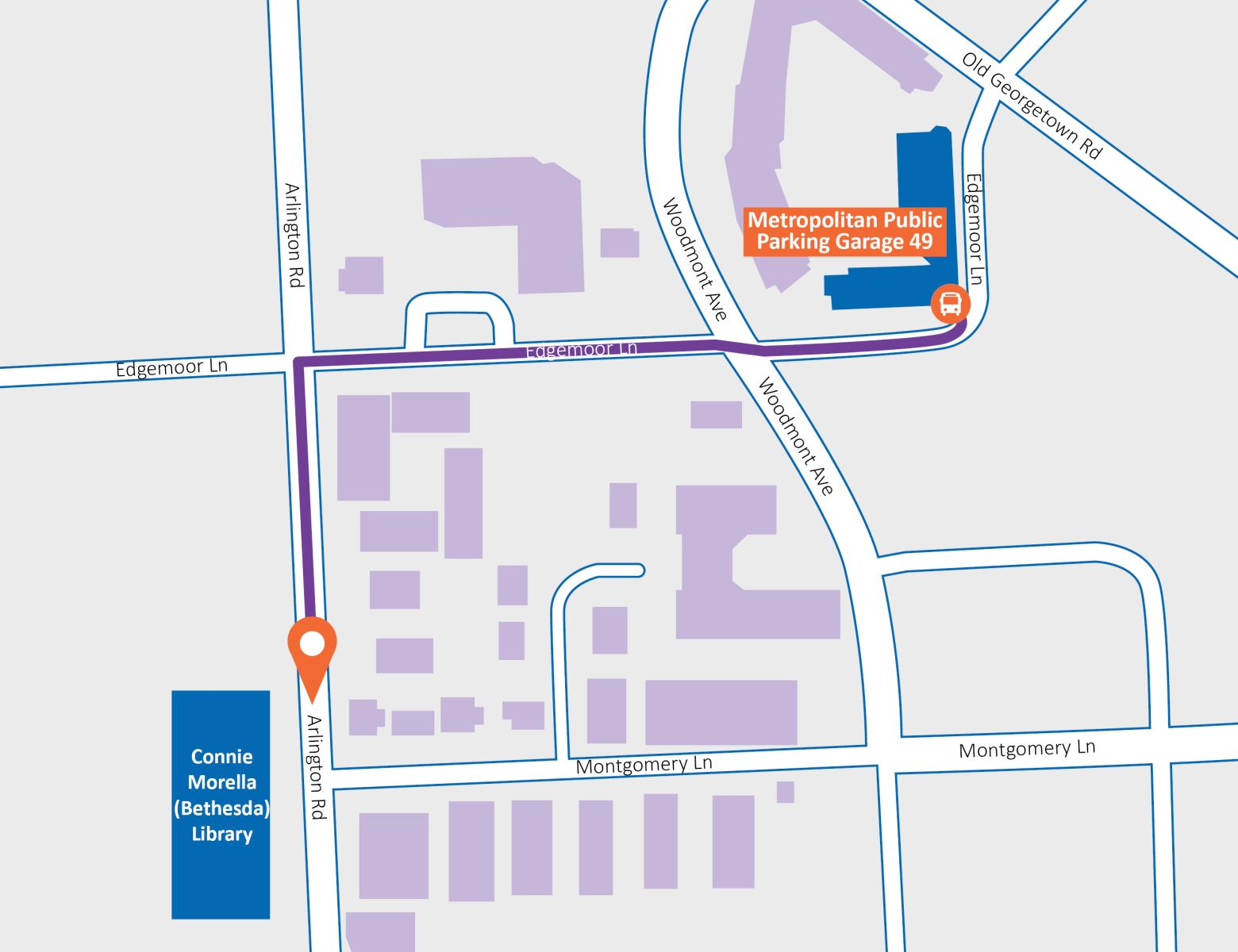 map showing directions between library and garage
