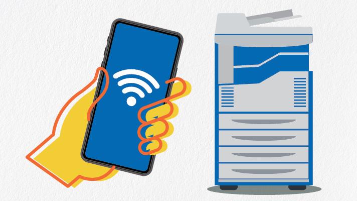 mobile phone and printer illustration
