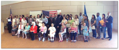 newly naturalized citizens at Gaithersburg Library