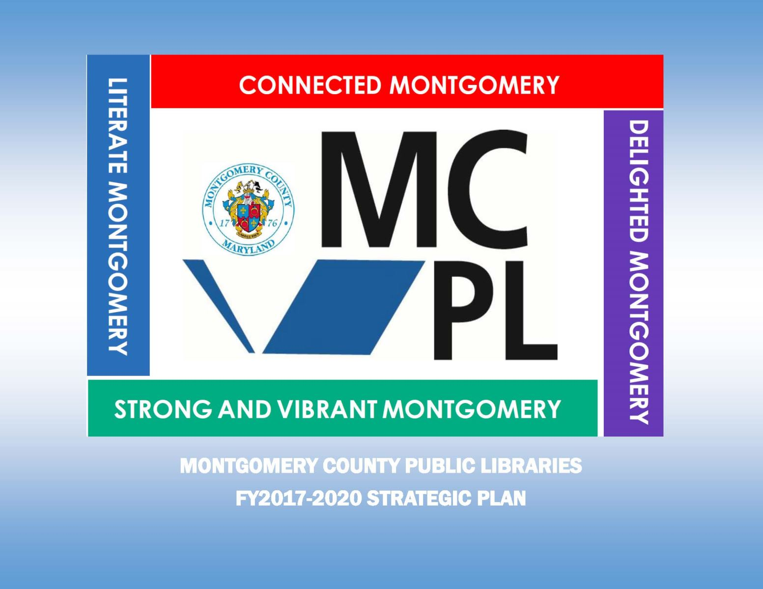 MCPL logo with literate montgomery, connected montgomery, strong and vibrant montgomery, and delighted montgomery written around