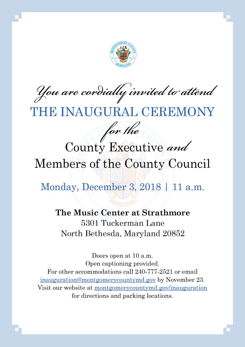 Inauguration Information Montgomery County Md
