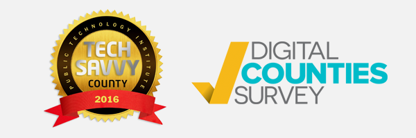 2016 tech savvy county award and digital counties survey award logo