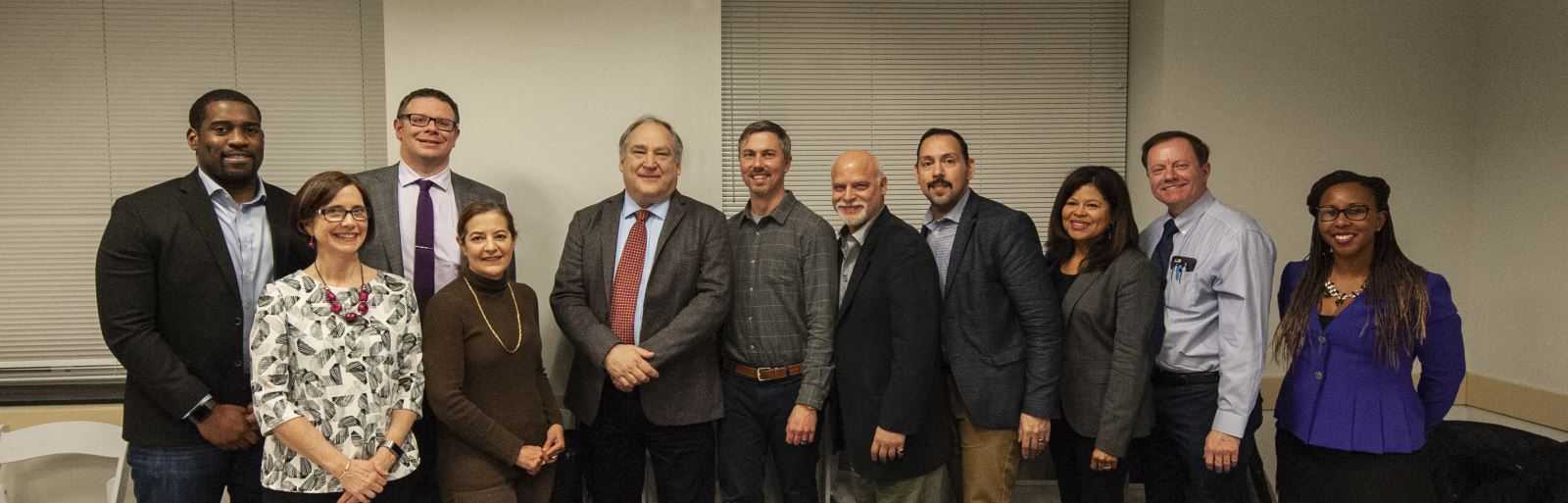 County Executive Marc Elrich joined the Wheaton Urban District Advisory Committee for a discussion at the January 8, 2019 Committee Meeting. Those pictured here include Members: Ron Franks, Leah Haygood, Stuart Amos, Mariela Garcia-Colberg, County Executive Marc Elrich, Chair William Jelen, Members: Jim Epstein, Omar Lazo, Mirza Donegan, William Moore, and Vice Chair Chelsea Johnson.