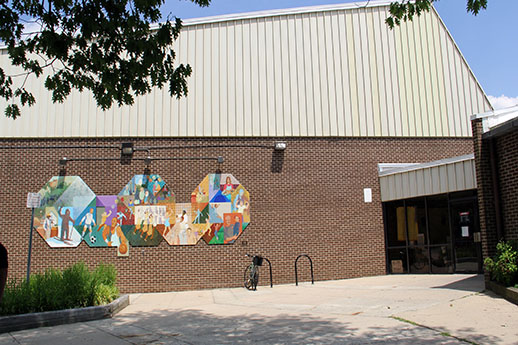 Mural next to main entrance