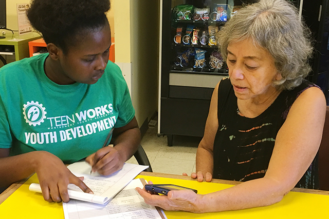 TeenWorks young woman helping senior