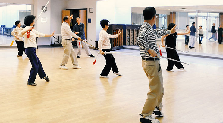 adults in sword movement class