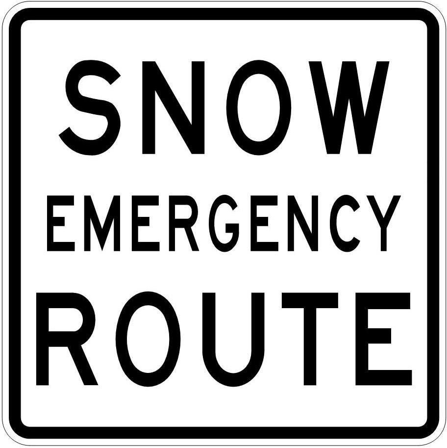 Snow emergency route sign.