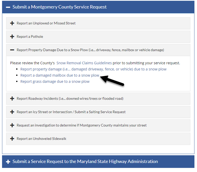 Submit a Montgomery County Service Request screen.