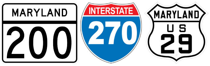 Maryland State 200, US 29, and Interstate 270 road signs