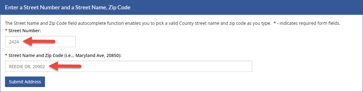 Street address form.