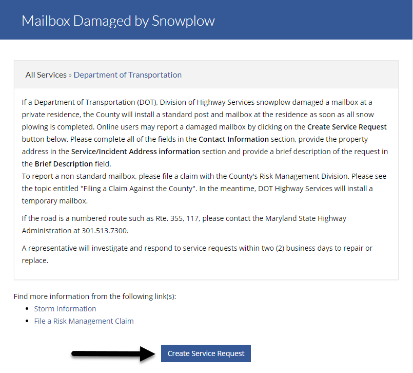 Mailbox Damaged By a Snow Plow knowledge base article and create service request button.