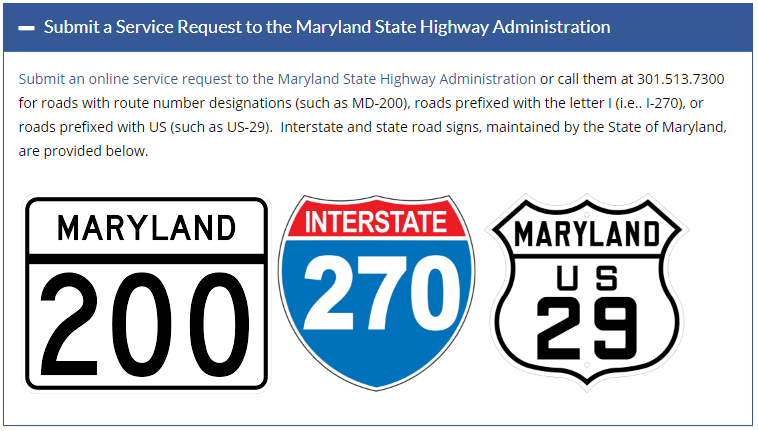 Submit a service request to the Maryland State Highway Admin.